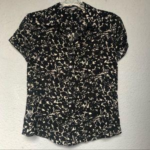 Ann Taylor Silk Button Down Blouse, Short Sleeve